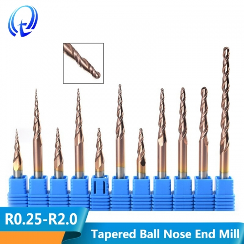 Solid Carbide Ball Nose Tapered End Mills 2 Flute Engraving Router Bits CNC Router Bit
