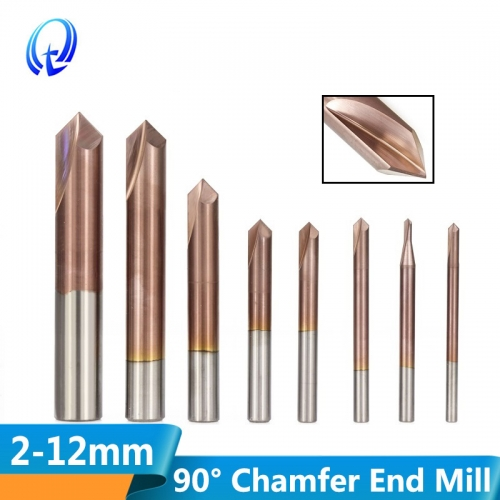 3 12mm 2 Flutes 90 Degrees Chamfer End Mill CNC Router Bit TiCN Coated Carbide End Mill Chamfer HRC55