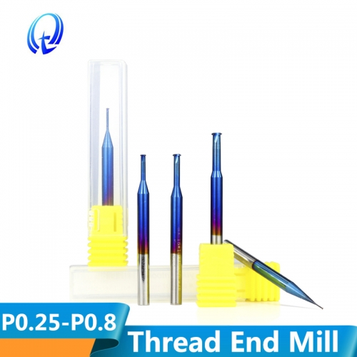 P0.25 P0.8 Nano Blue Coated Thread Mills Tungsten Carbide Single Thread Milling Cutter Mill