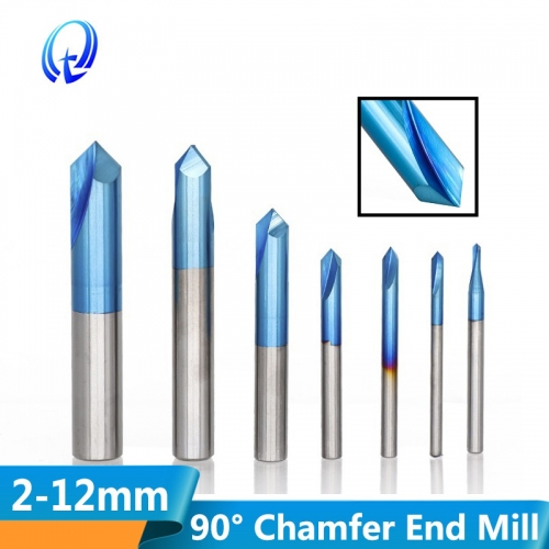 2 12mm 90 Degree Nano Blue Coated Chamfer End Mills CNC Machine Router Bit 2 Flutes End Mill HRC65