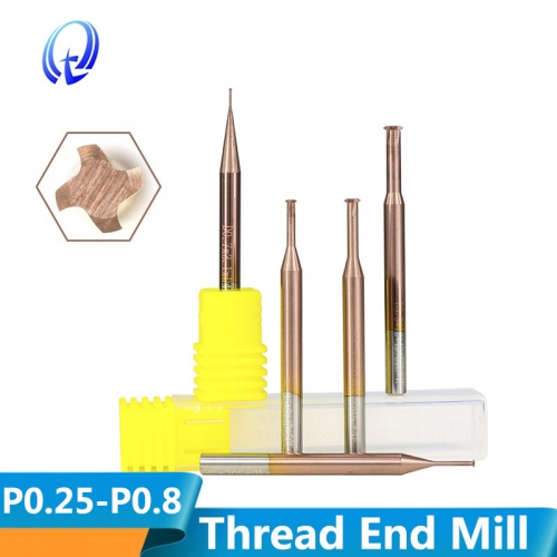 TiCN Coating Thread End Mill P0.25 P0.8 Single Thread Router Bit Tungsten Carbide Milling