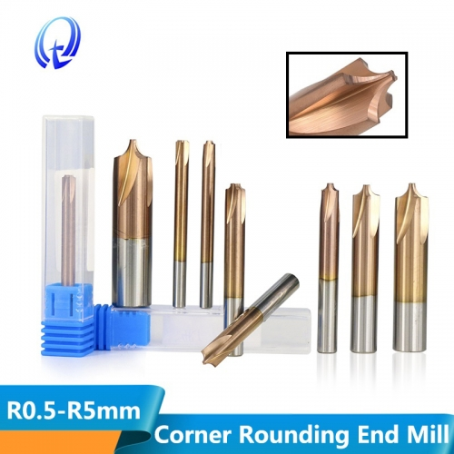 TiCN Coated Carbide End Mill R0.5 R5.0 Corner Rounding Milling Cutter CNC Machine Router Bit HRC55