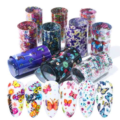 Butterfly Nail Transfer Foil 10 Styles/Box