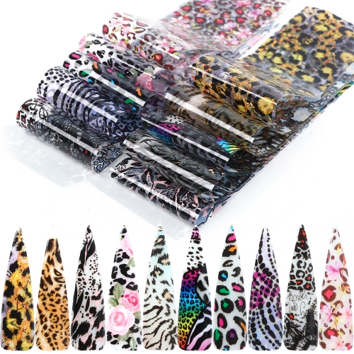 Leopard Nail Transfer Foil 10 Styles/Pack