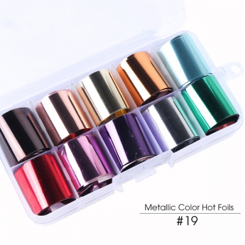 Metallic Mirror Nail Transfer Foil 10 Styles/Box