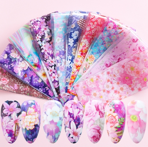 Flower Nail Transfer Foil 10 Styles/Pack