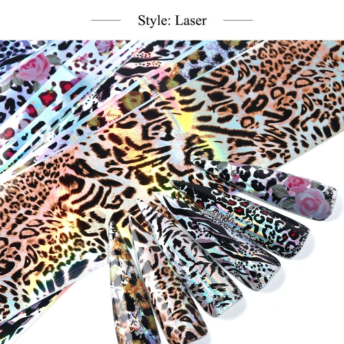 Holographic Leopard Nail Transfer Foil 10 Styles/Pack