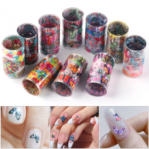 Flower Nail Transfer Foil 10 Styles/Box