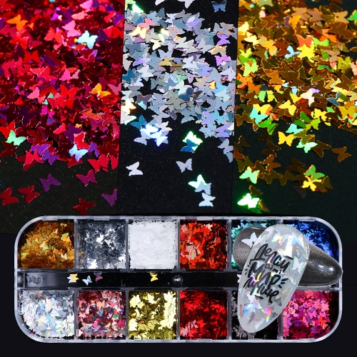 Butterfly Nail Sequins 12 Styles/Box