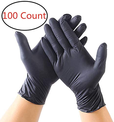 100 PCS Nitrile Disposable Gloves,Latex Free, Powder Free, Textured, Disposable, Non-Sterile Vinyl Gloves for Kitchen Cleaning Tattooist Medical Mecha