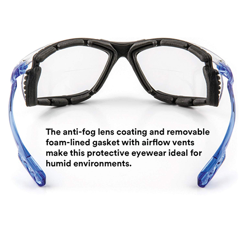 Safety Glasses, Virtua CCS Protective Eyewear 11872, Removable Foam Gasket, Clear Anti-Fog Lenses, Corded Ear Plug Control System