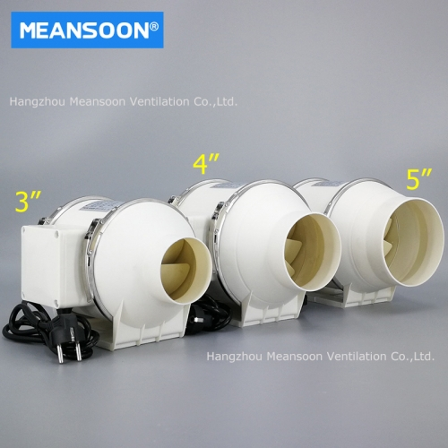 3 inches plastic mixed flow inline duct fans