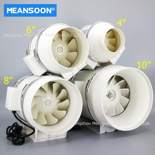 8 Inches 200 Plastic Mixed Flow Inline Duct Fans