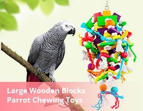 AK KYC Parrot Chewing Toys Extra Large Wooden Blocks Nibbling Keeps Beaks Trimmed Attract Pet's Attention for Large Medium Parrots and Birds Parakeet Macaws African Greys and Conures