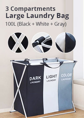 AK KYC Laundry Basket 3 Compartments Large Laundry Bag Large Laundry Sorter Foldable Storage Container with Stand Can be Used in The Bathroom, Bedroom, Home 65x60x39cm, 100L (Black + White + Gray)