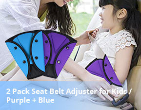 AK KYC 2 Pack Seatbelt Adjuster for Kids Car Child Seatbelt Adjusters Belt Cover Strap Protector Pad for Children Baby Adult Shoulder Neck Safety Triangle Positioner Purple + Blue