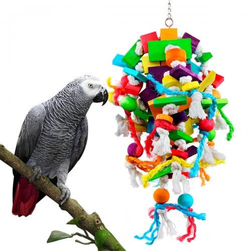 AK KYC Parrot Chewing Toys Extra Large Wooden Blocks Nibbling Keeps Beaks Trimmed Attract Pet's Attention for Large Medium Parrots and Birds Parakeet