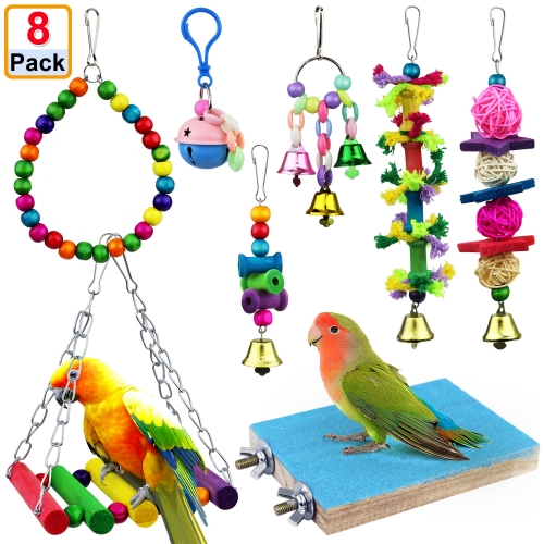 AK KYC 8 Pack Bird Parrot Toys Swing Chewing Hanging Bell Cage Hammock Toy for Small Parakeets Cockatiels Conures Parrots Love Birds Finches