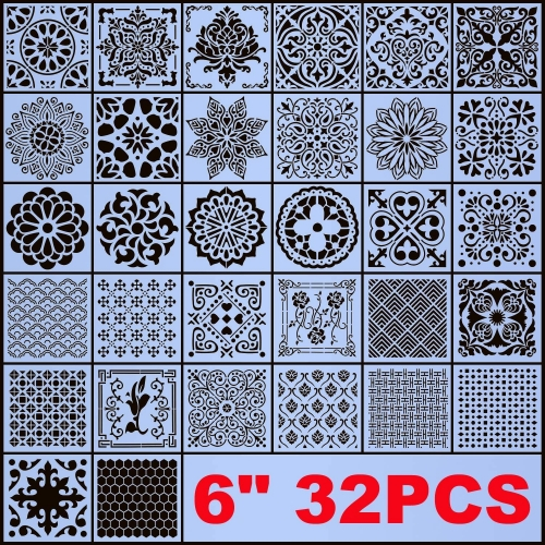 AK KYC Stencils Mandala Painting Stencil Stencils for Painting (6x6 inch Small Size) on Wood Wall Floor Tile Fabric Furniture Decor Mandala Dotting