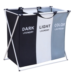 AK KYC Laundry Basket 3 Compartments Large Laundry Bag Large Laundry Sorter Foldable Storage Container with Stand Can be Used in The Bathroom