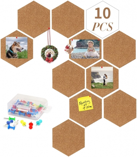 10 Pack Cork Board by AK KYC, DIY Self Adhesive Mini Pin Board Wall Bulletin Board with 40 PC Pins for Home Decoration Photo Hanging Office Notice
