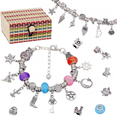 AK KYC Girls Charm Bracelet Making Kit Set,DIY Jewellery Making Kits Gifts for 8-12 Year Old Girls, Mixed Beads Snake Chain Jewelry Bracelet