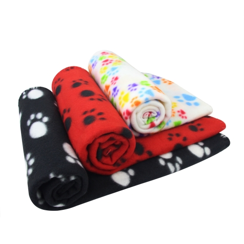 AK KYC 3 pack 40 x 28 inches Puppy Blanket Cushion Dog Cat Fleece Blankets Pet Sleep Mat Pad Bed Cover with Paw Print Kitten Soft Warm Blanket