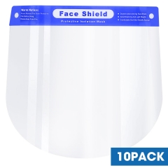 Face Shield, Plastic Face Shield, Face Mask Protection, Clear Face Shield, Personal Protection Face Shield Covers Eyes, Nose, (10pack)