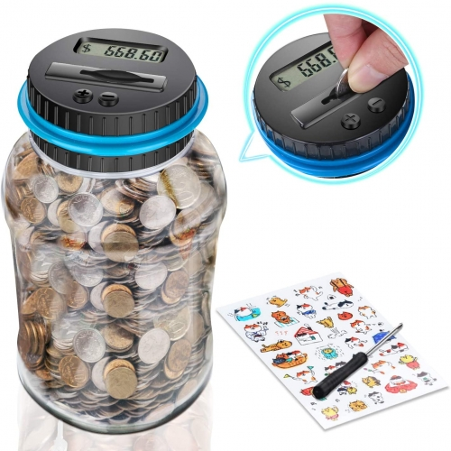 Free Breath Digital Coin Bank, Piggy Bank for Boys and Girls, Coin Counter Bank with Ultra-Large Capacity, Money Jar with Child Stickers – Fun Coin Co