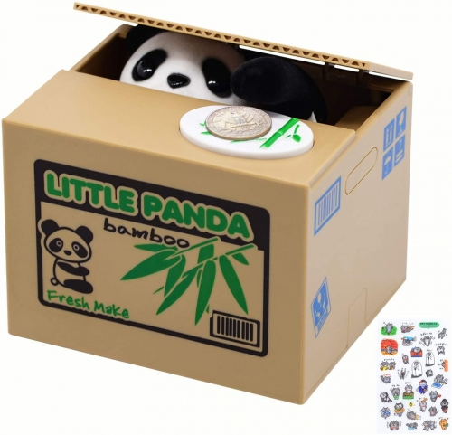 Mischief Panda Saving Box,Piggy Bank with Cute Little Panda Inside, Automated Panda Coin Saving Piggy Bank, Perfect for Kids of All Ages, Great Gift f
