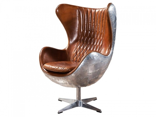 Retro Brown Vintage Aviator Aluminium Back Leather Egg Chair