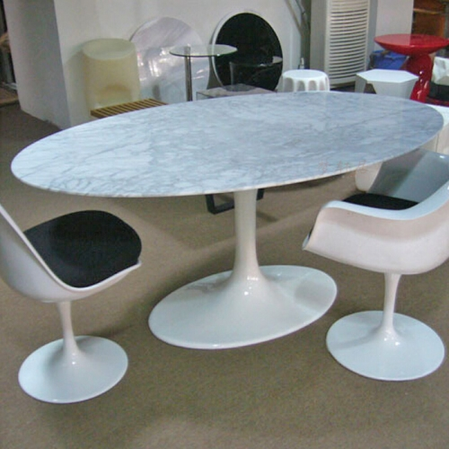 Modern Furniture Saarinen Tulip Oval Marble Dining Table