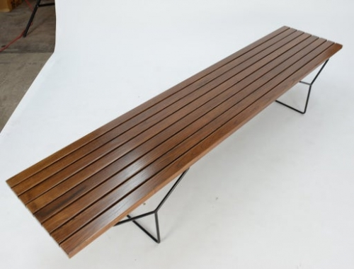 bertoia slat table bench