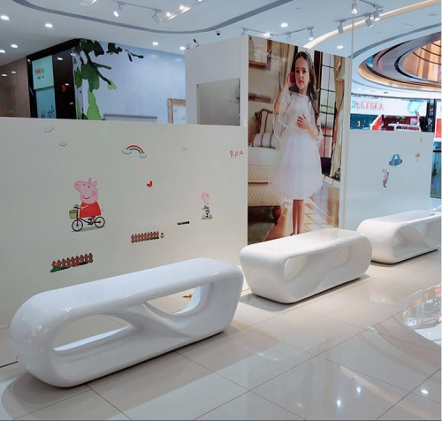 Replica Designer Furniture Shopping Mall Fiberglass Long Bench