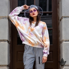 Purple Met Orange Tie-Dye Fleece Sweatshirt