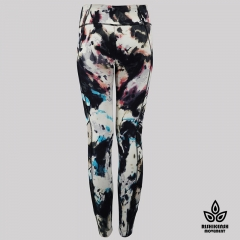 Graffiti Tie-Dye Leggings with Mesh Inserts on Legs and Pockets Detai