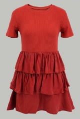 Red stitched knit dress