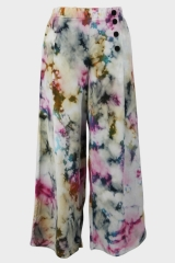 Tie-dyed loose wide-...