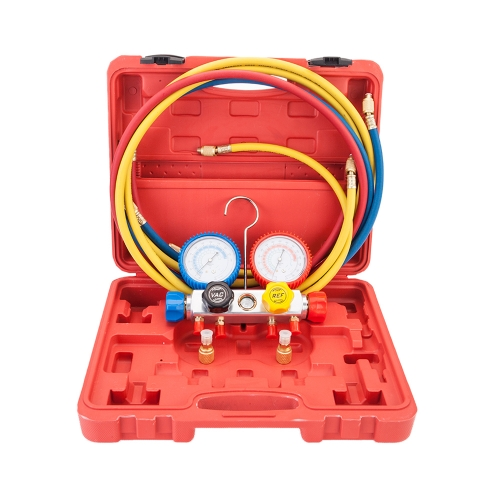 R404A R410A R22 Dual Manifold Gauges Valve Set with Red Plastic Case Red & Yellow & Blue & Golden