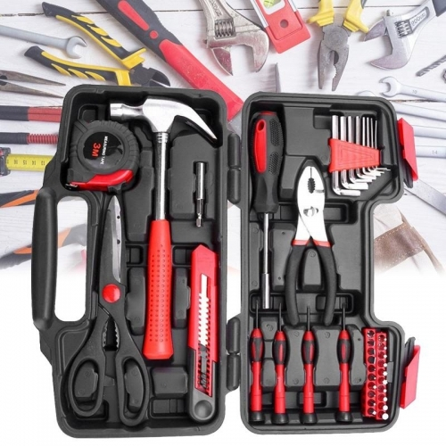 38 Piece DIY Household Home Hand Tool Set Kit Box Hammer Pliers Scissors