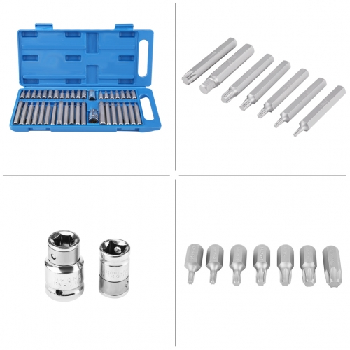 40Pcs Hex Star Torx Socket Bit Set Tool Kit 1/2inch 3/8inch Drive