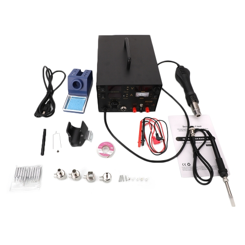 853D 3 in 1 Soldering Station & Hot Air Gun & Power Source Digital Display Constant-temperature Soldering Station with 11pcs Solder Tips & 1pc Solder
