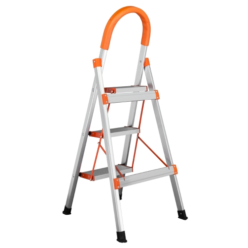 Non-slip 3-Step Aluminum Ladder Folding Platform Stool 330 lbs Load Capacity Orange