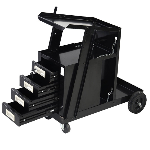 4 Drawers Portable Wheels Steel Welding Cart Black