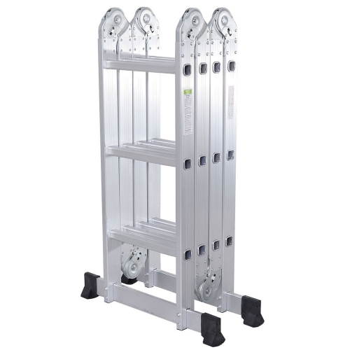 6ft Practical 12-Step Joints Aluminum Folding Ladder Silver