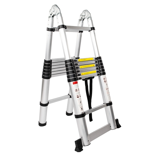 16.5FT 16-Step Dual Joints Aluminum Stretchable Ladder Black & Silver