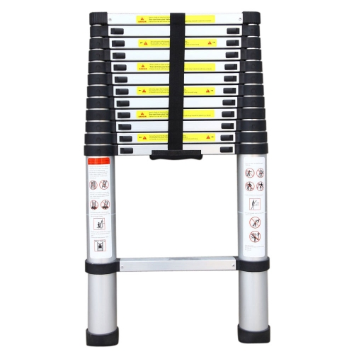 10.5ft High Quality Aluminum Stretchable Ladder Black & Silver