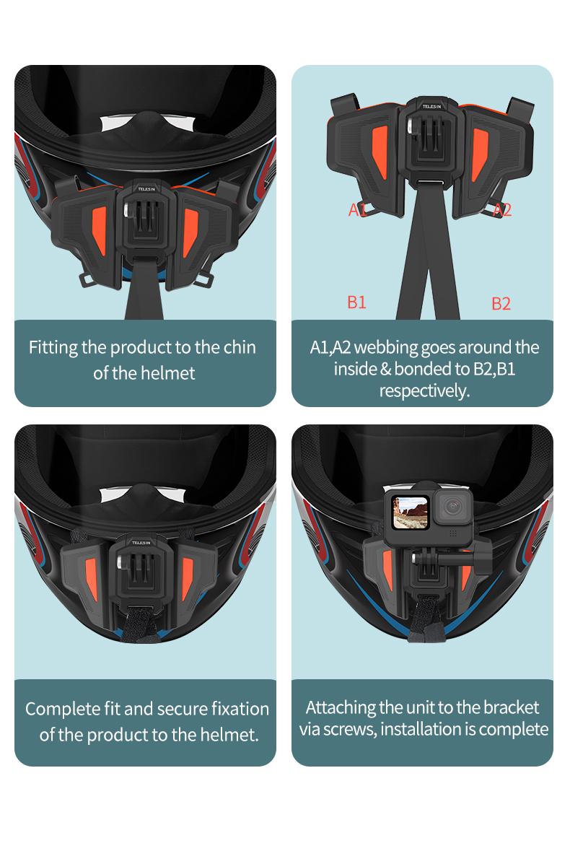 TELESIN The Newest Motorcycle Helmet Strap Mount