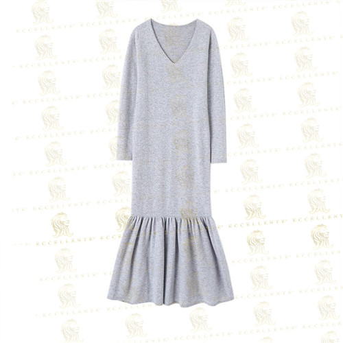 Cashmere Dress with Fishtail Bottom