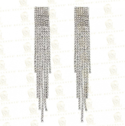 Fashion Exaggerated Full Diamond Long Tassel Temperament All-Match Earrings
